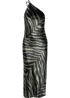 Michelle Mason Woman Open-back Draped Zebra-print Velvet Midi Dress Army Green