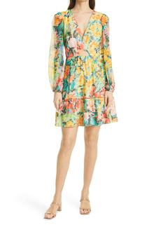 Milly Garden Floral Long Sleeve Silk Chiffon Dress