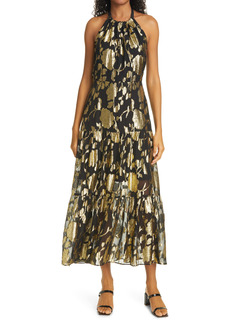 Milly Hayden Metallic Floral Halter Neck Dress