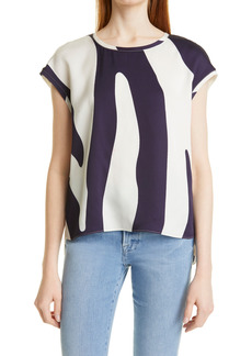 Milly Hayes Sprint Zebra Crepe Blouse