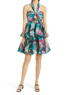 Milly Louisa Neon Floral Accent Halter Neck Gown