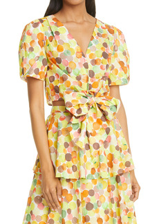 Milly Marilyn Watercolor Bubble Tie Front Blouse