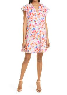 Milly Nadia Watercolor Bubble Tie Neck Poplin Shift Dress