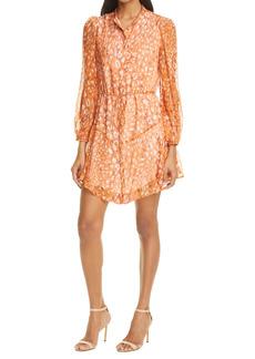 Milly Natasha Leopard Print Long Sleeve Silk Chiffon Dress