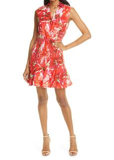 Milly Nora Brushstroke Floral Smock Poplin A-Line Dress