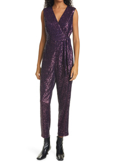 Milly Sequin Sleeveless Jumpsuit