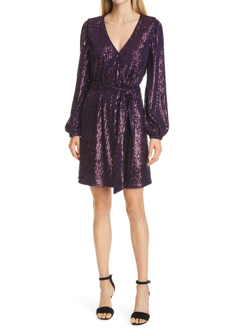 Milly Siena Sequin Wrap Front Long Sleeve Dress