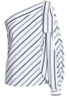 Milly Woman Nina One-shoulder Striped Cotton-poplin Top White
