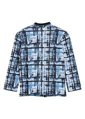 Ming Wang Abstract Plaid Sweater Jacket