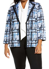 Ming Wang Abstract Plaid Sweater Jacket (Plus Size)