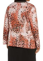 Ming Wang Animal Pattern Knit Jacket (Plus Size)
