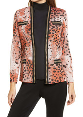 Ming Wang Animal Print Knit Jacket
