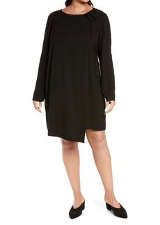 Ming Wang Asymmetrical Hem Long Sleeve Dress (Plus Size)