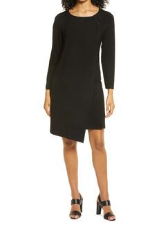 Ming Wang Asymmetrical Hem Long Sleeve Sheath Dress