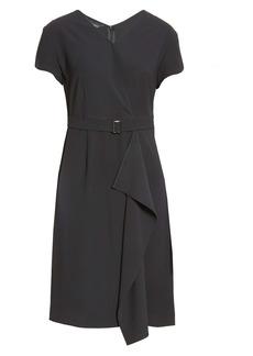 Ming Wang Belted Faux Wrap Dress