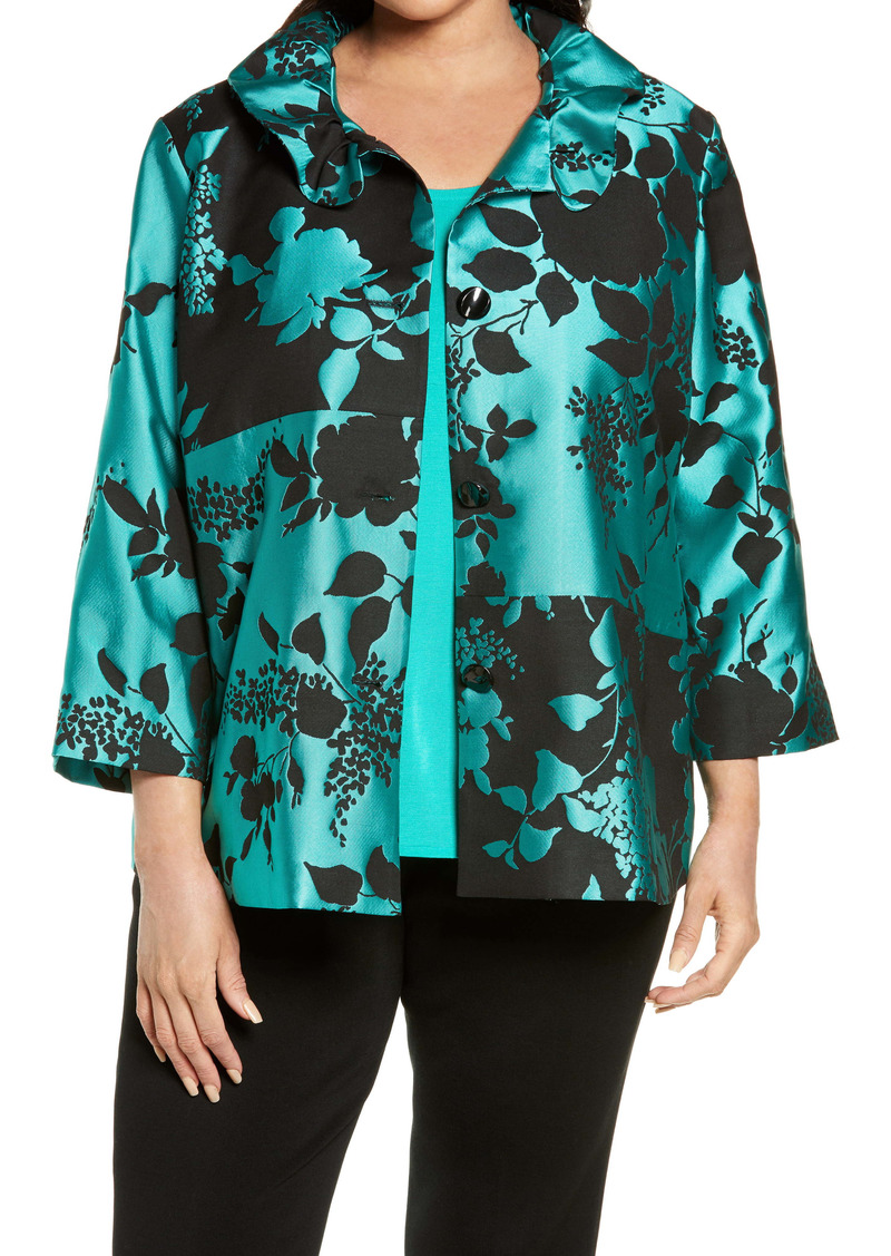 Ming Wang Block Floral Satin Twill Jacket (Plus Size)