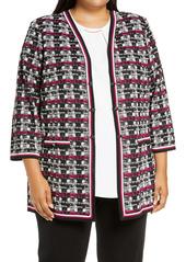 Ming Wang Check Knit Jacket (Plus Size)