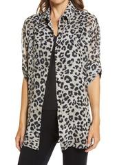 Ming Wang Cheetah Print Roll Sleeve Tunic