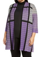 Ming Wang Colorblock Knit Jacket (Plus Size)