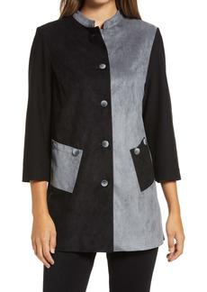 Ming Wang Colorblock Three Quarter Sleeve Jacket