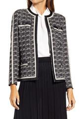 Ming Wang Contrast Trim Tweed Jacket