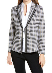 Ming Wang Double Breasted Plaid Jacket