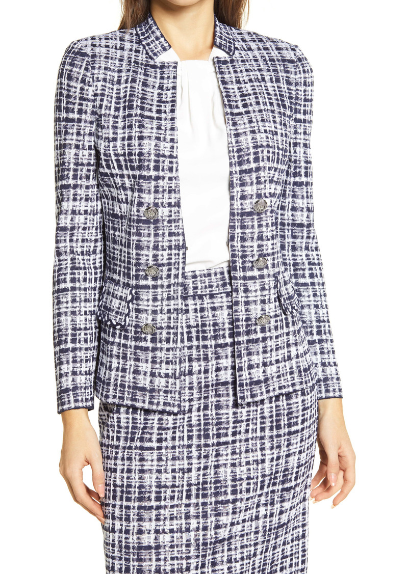 Ming Wang Double Breasted Tweed Knit Jacket