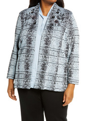 Ming Wang Embellished & Embroidered Jacquard Jacket (Plus Size)
