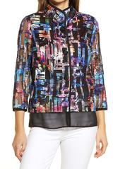 Ming Wang Embroidered Sheer Sleeve Jacket