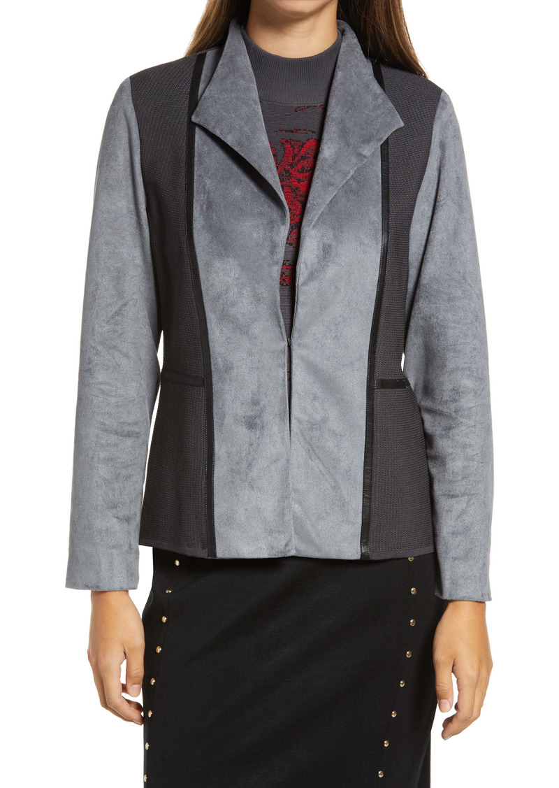 Ming Wang Faux Suede Mixed Media Jacket