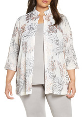 Ming Wang Floral Embroidered Jacket (Plus Size)