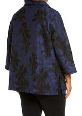 Ming Wang Floral Jacquard Brocade Jacket (Plus Size)