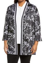 Ming Wang Floral Jacquard Knit Jacket (Plus Size)