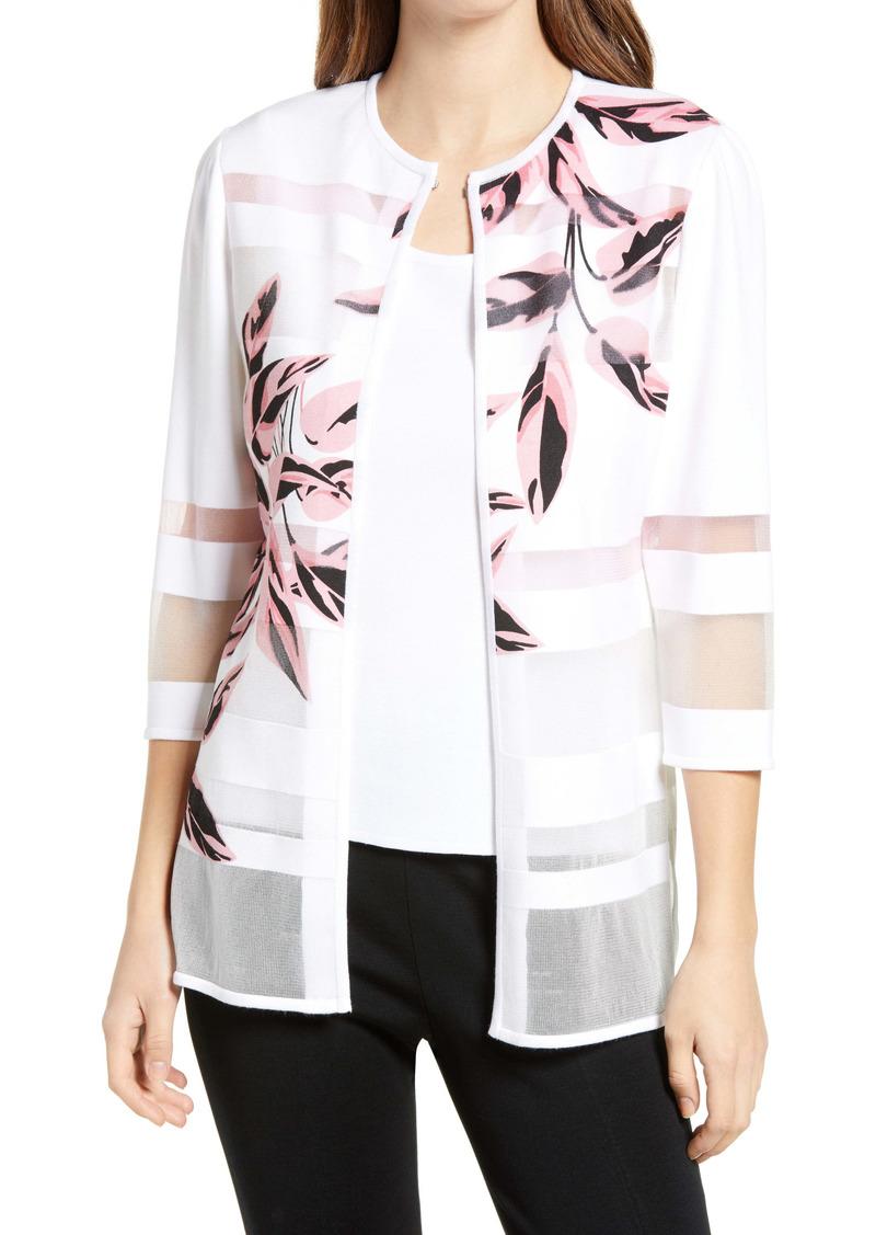 Ming Wang Floral Three Quarter Sleeve Jacket