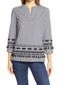 Ming Wang Gingham Embroidered Blouse