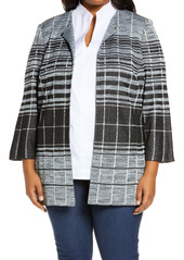 Ming Wang Graduated Check Knit Jacket (Plus Size)
