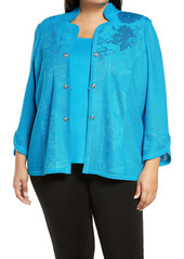 Ming Wang Jacquard Jacket (Plus Size)