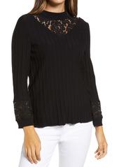 Ming Wang Lace Inset Mock Neck Sweater