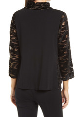 Ming Wang Leopard Metallic Velvet Burnout Jacket