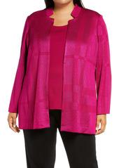 Ming Wang Notch Collar Textured Knit Jacket (Plus Size)
