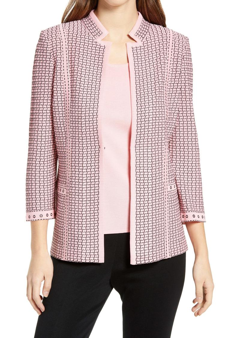 Ming Wang Notched Collar Knit Jacket