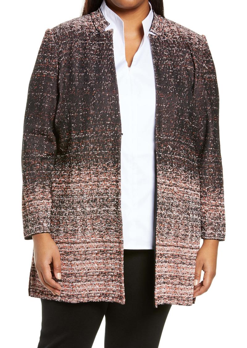 Ming Wang Ombré Tweed Jacket (Plus Size)