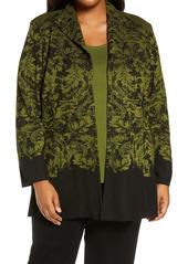 Ming Wang Pattern Knit Jacket (Plus Size)