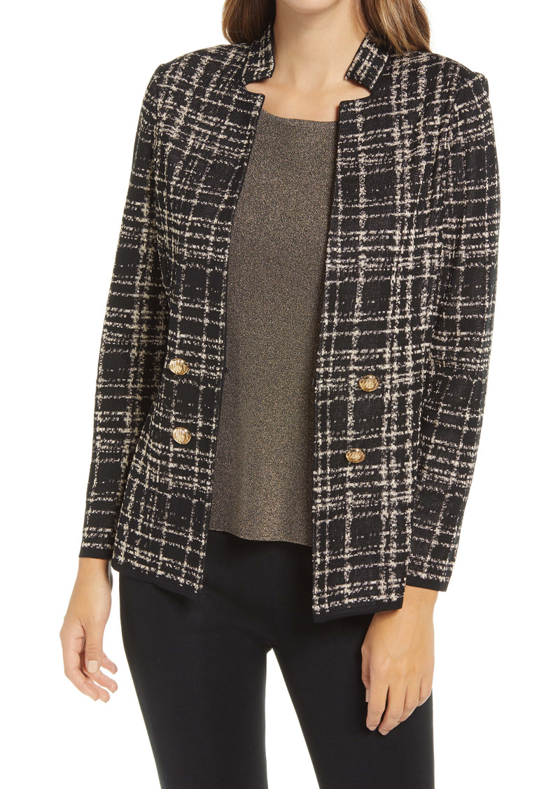Ming Wang Plaid Double Breasted Knit Jacket