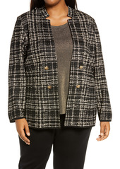 Ming Wang Plaid Double Breasted Knit Jacket (Plus Size)