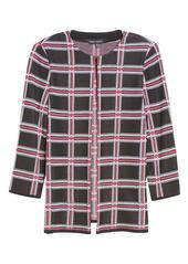 Ming Wang Plaid Knit Jacket