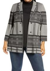 Ming Wang Plaid Knit Jacket (Plus Size)