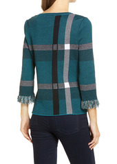 Ming Wang Plaid Print Fringe Trim Tunic