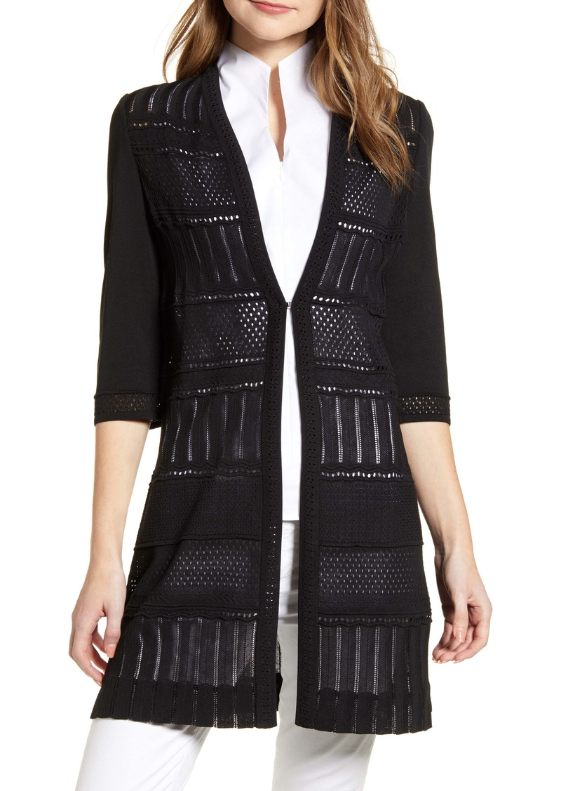 Ming Wang Pointelle Long Jacket