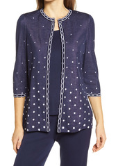 Ming Wang Polka Dot & Scallop Knit Jacket
